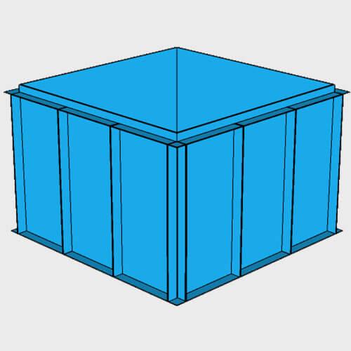 Чаша бассейна из полипропилена, 2,0 × 2,0 × 1,5 м.