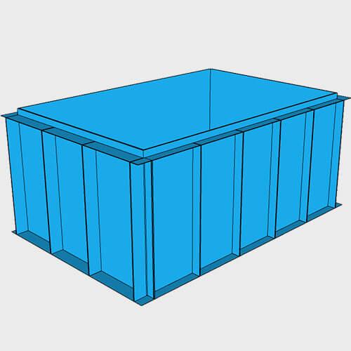 Чаша бассейна из полипропилена, 3,0 × 2,0 × 1,5 м.