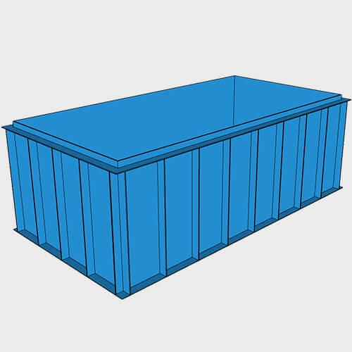 Чаша бассейна из полипропилена, 4,0 × 2,0 × 1,5 м.