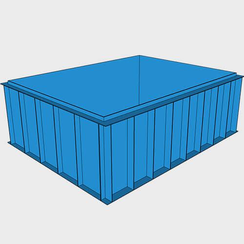 Чаша бассейна из полипропилена, 4,0 × 3,0 × 1,5 м.