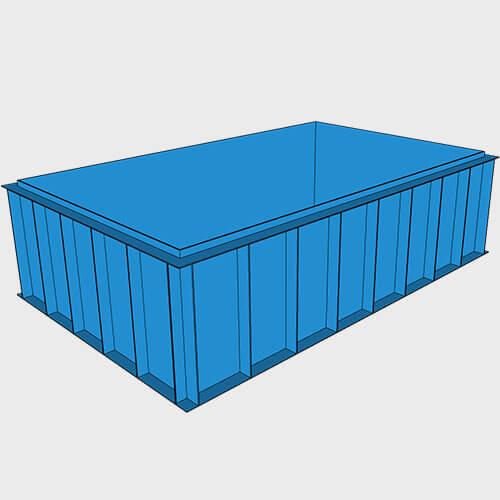 Чаша бассейна из полипропилена, 5,0 × 3,0 × 1,5 м.