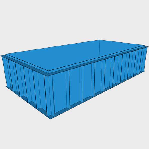 Чаша бассейна из полипропилена, 6,0 × 3,0 × 1,5 м.