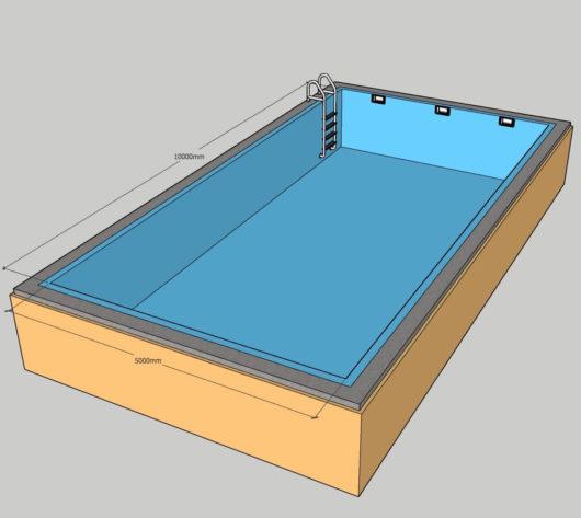 Пленочный бассейн под ключ 5х10 м