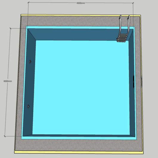 Пленочный бассейн под ключ 4х4 м