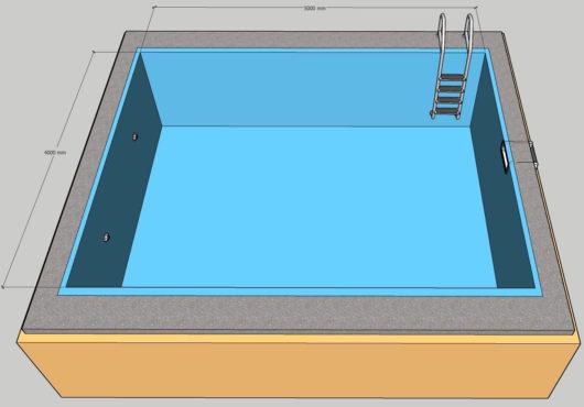 Пленочный бассейн под ключ 4х5 м