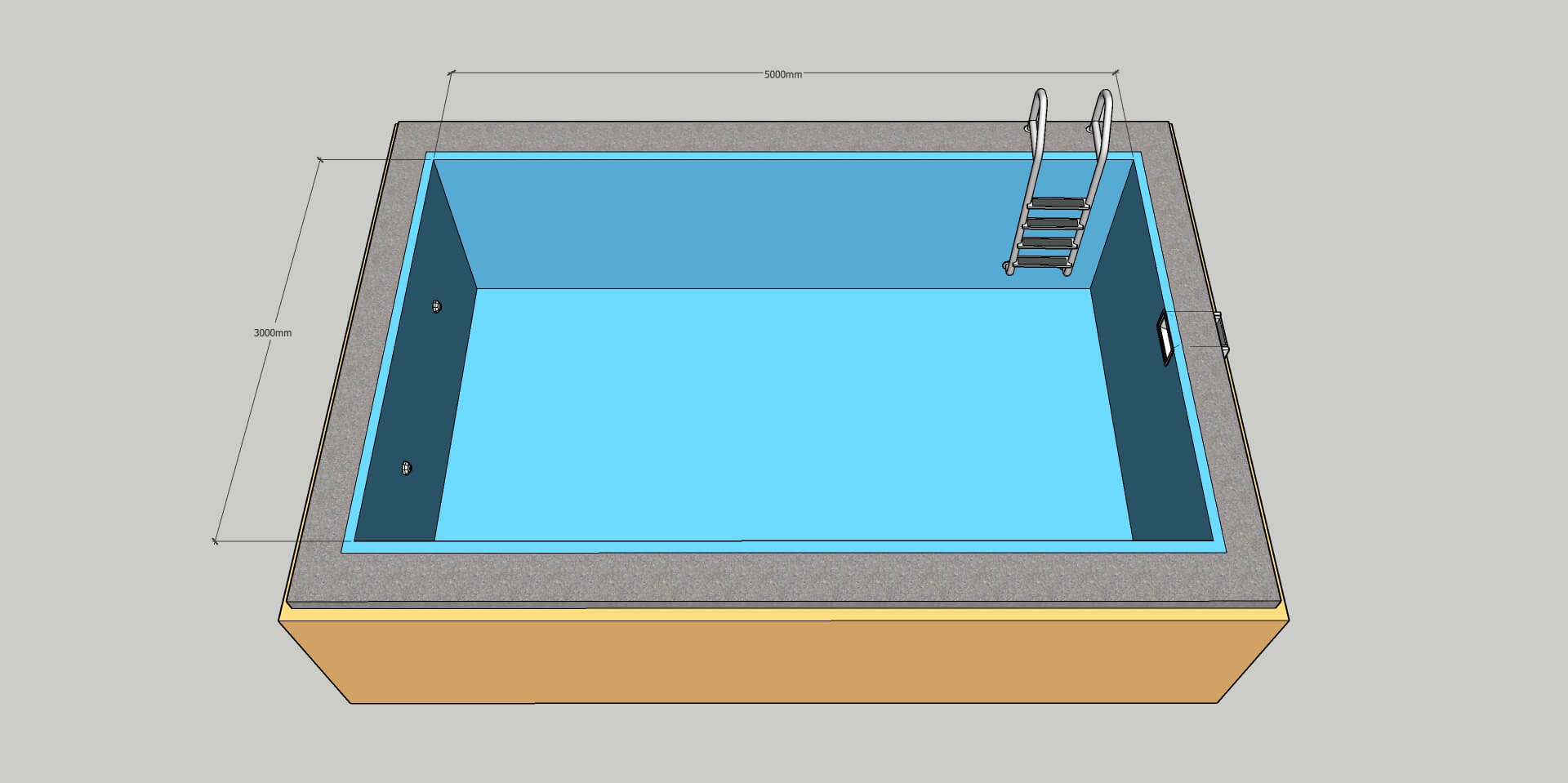 Пленочный бассейн под ключ 3х5 м